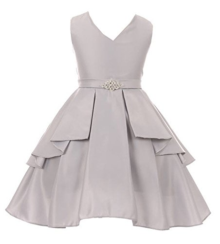 iGirlDress Big Girls Sleeveless V-Neckline Satin Flower Girl Dress Silver Size 10