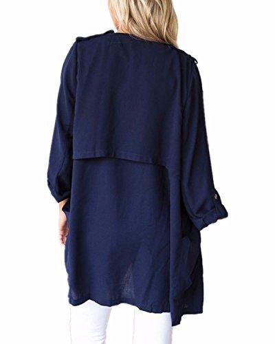 StyleDome Waterfall Longue Loose Coat Lache Bleu Vest Cape Cardigan Hauts Fronc Femmes Blazer Ponchos w4wrB