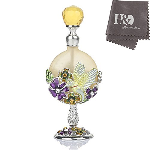 - Vintage Heart Shape Glass Bottle Light Yellow Birds Flower Pattern Decorative Handmade Jeweled Perfume Bottles for Living Room