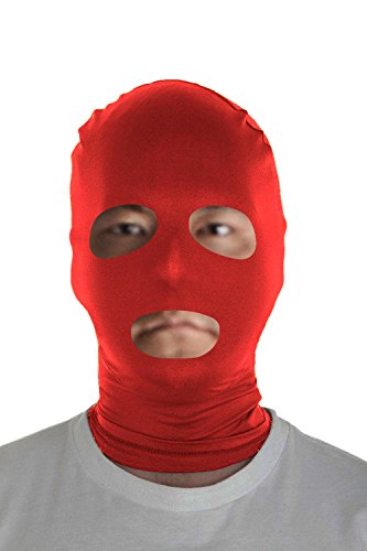 Marvoll Lycra Spandex Eyes & Mouth Holes Zentai Mask Hoods Halloween Costumes (Adults, Red) - Stag Night Costumes Ideas