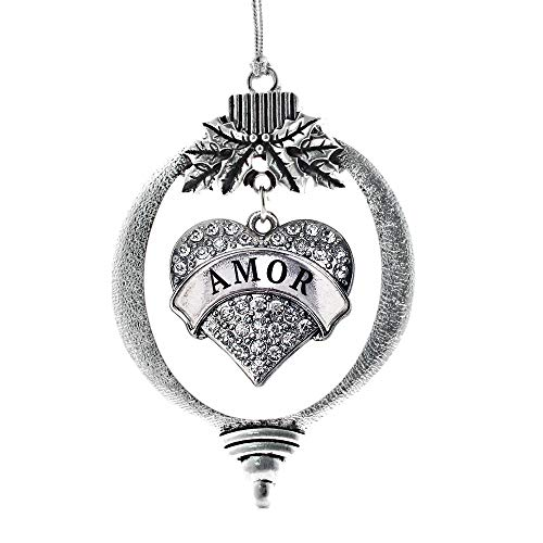 Inspired Silver - Amor Charm Ornament - Silver Pave Heart Charm Holiday Ornaments with Cubic Zirconia Jewelry