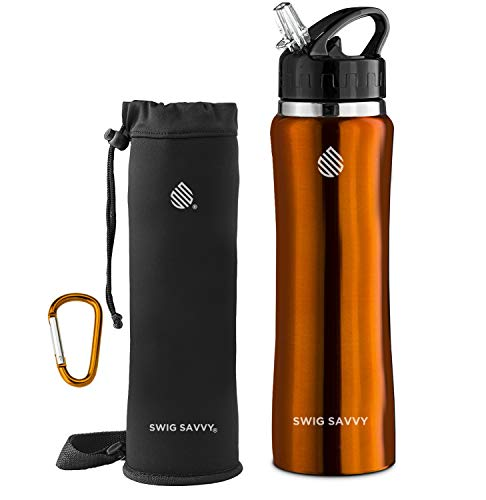 SWIG SAVVY Stainless Steel Insulated Leak Proof Flip Top Straw Cap Water Bottles with Pouch & Clip, Orange, 24oz