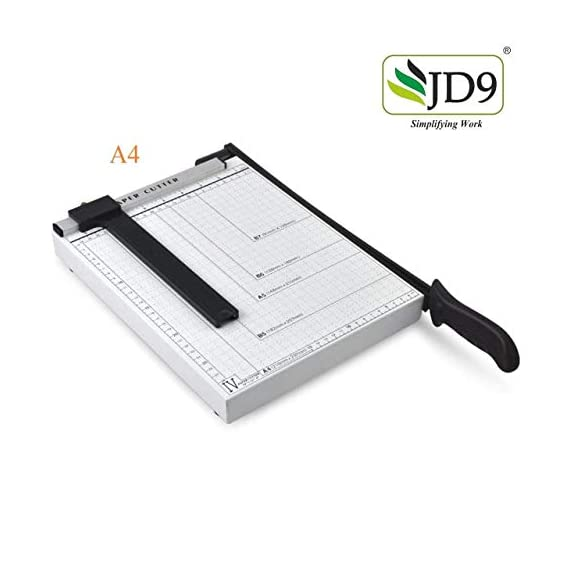 JD9 Paper Cutter A4 Heavy Duty Professional Paper Trimmer, Guillotine Craft Machine for Office, Home, Craft, Photo Studio (A4, B5, A5, B6, B7) (White, 12.5 x 9.8 x 1.2 inch) 2
