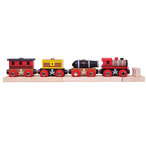Bigjigs Rail Wooden Pirate Train - Other Major Wood Rail Brands are Compatible -