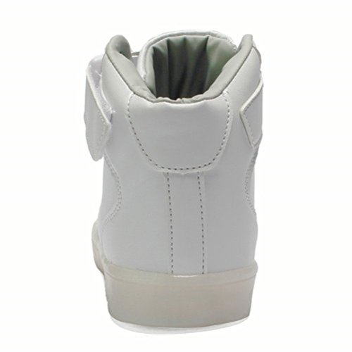 [Presente:pequeña toalla]JUNGLEST® Unisex 7 Colors USB Carga LED Luz Luminosas Flashing Sneakers Altotop Zapatos Zapatillas de Depo Blanco alto
