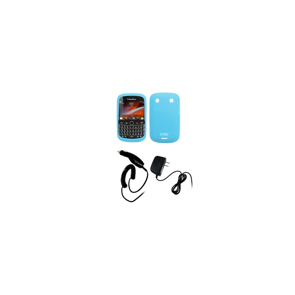 EMPIRE Light Blue Silicone Skin Case Cover + Car Charger (CLA) + Home Wall Charger for Verizon BlackBerry Bold 9930