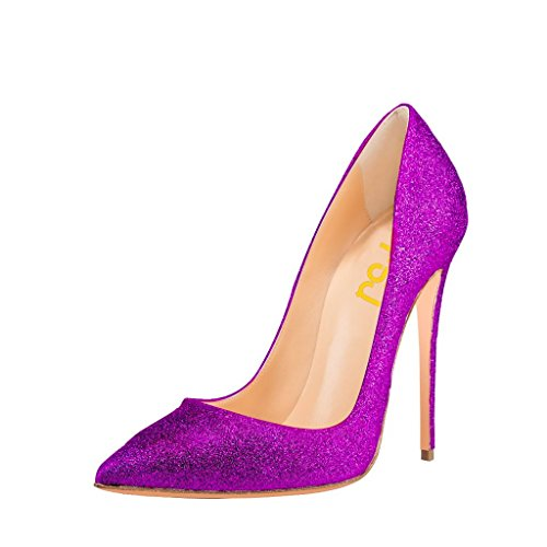 FSJ Women Classic High Heels Stilettos Pointed Toe Pumps Wedding Shoes With Glitter Size 4-15 US Purple C4KDcIeReJ