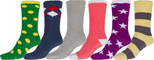 Sakkas Super Soft Anti-Rutsch-Fuzzy Crew Socken Wert sortiert 6er Pack