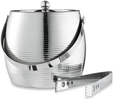 Francois et Mimi Stainless Steel Double Wall Ice Bucket with Tongs and Handle