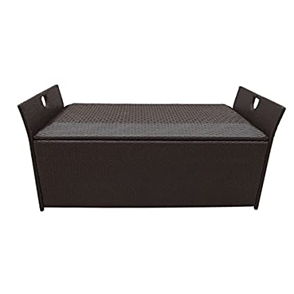 60u0026quot; Wicker Patio Deck Pool Storage Ottoman Box Chest Bench Cushion  Pillow Trunk Poolside Storing