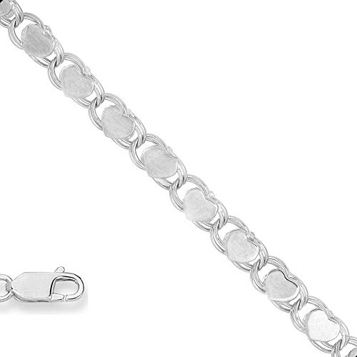 14K Yellow or White Gold 2.9mm Shiny Heart Chain Necklace or Bracelet Bangle or Anklet for Pendants and Charms with Lobster-Claw Clasp (5.5'' 7'', 10'', 16'', or 18 inch) by The Diamond Deal (Image #2)