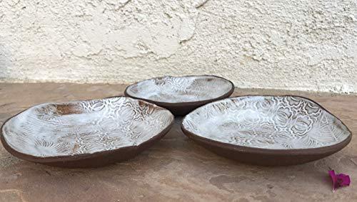 Brown and White Small Bowl set of 3, handmade ceramic dinnerware by Manuela Marino Ceramic
