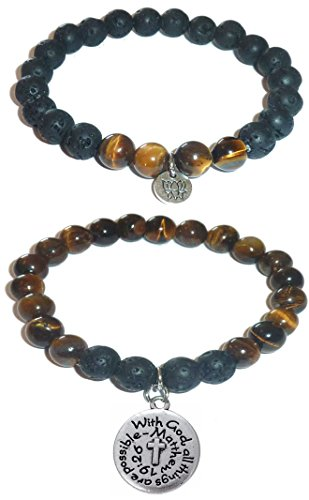 Hidden Hollow Beads Charm Tigers Eye and Black Lava Natural Stone Women's Yoga Beaded Stretch Bracelet Set. COMES IN A GIFT BOX! (With God all Things are - Charms Set Beaded