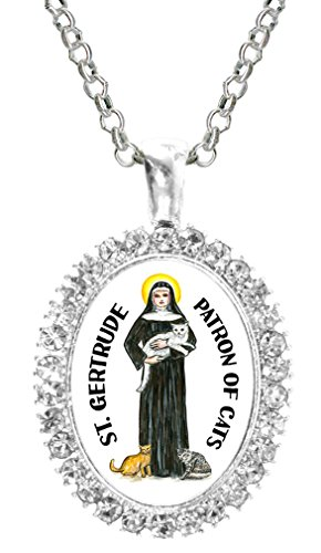 St Gertrude Patron of Cats Cz Crystal Silver Necklace - Chaise Jewelry Box