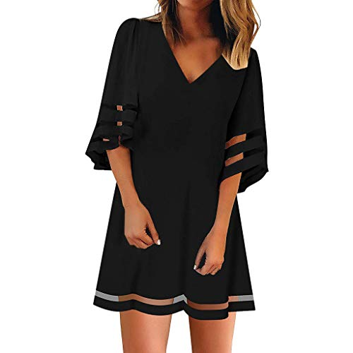 Women's V Neck Mesh Panel Dress 3/4 Bell Sleeve Loose Long Tops Shirt Summer Mini Dresses ()