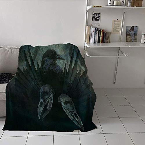 Khaki home Children's Blanket Soft Blanket for Sofa Couch Bed (30 by 50 Inch,Gothic Decor Collection,Crow Spirit Wings Haunting Magic Mysticism Dark Shadowy Occult Art Print,Cobalt Black