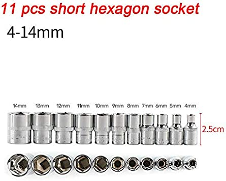 """11pcs Deep Long Socket Set for Wrench 1//4/"""" Drive 4~14 mm Metric MM Easy to Read"""