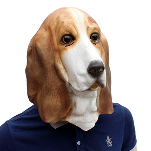 Novelty Funny Halloween Cosplay Costume Masquerade Party Latex Foxhound Dog Animal Head -