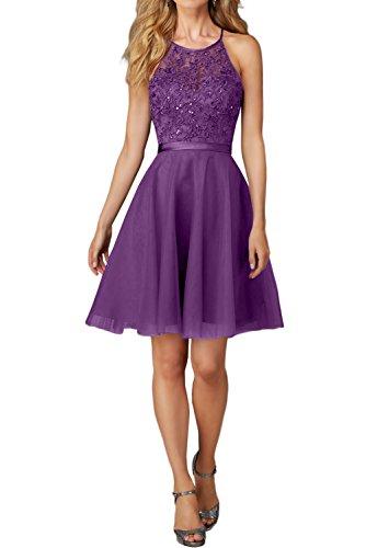 Kleid Charmant Festlich Abendkleider Spitze Promkleider mit Kleider Violett Damen Kurz Mini Ballkleider Jugendweihe xwpwqBHOR