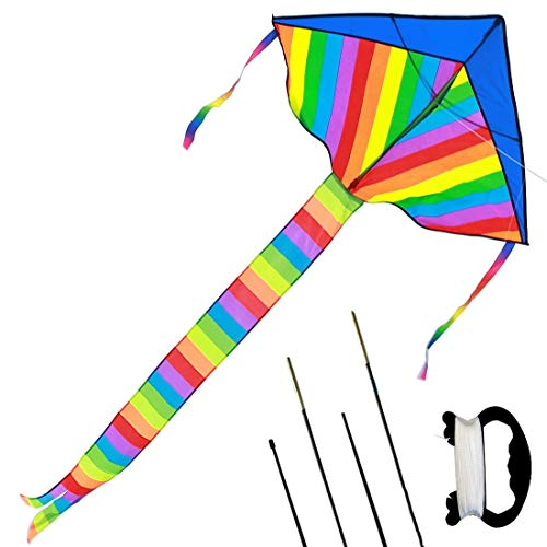 - BEAUTOSOUL Kids Large Rainbow Delta Kite - Best Outdoor Toys for Summer Beach Fun, Durable Easy Flyer Comes with 4 Extra Replacement Rods and Happy Family Time (Rainbow Delta Kite, Blue)