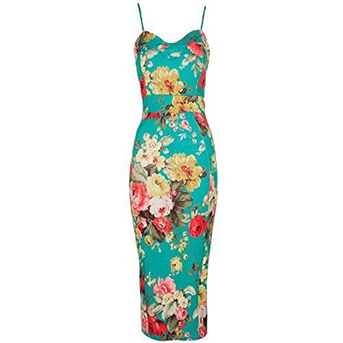 FashionMark New Womens Celeb Floral Tropical Print Bodycon Midi Dress (Tropical Dress Floral)