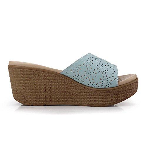 Bleu de Confortable Mules Vacances Vintage Compensée Frestepvie Tongs Mode Plage Sandales Floral Chaussure Femme Eté Dentelle Sqxz0Zxaw