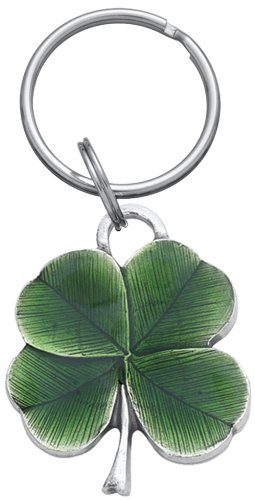 (DANFORTH - Clover Pewter Keyring (Green) - 1 1/2 Inch - Handcrafted - Made in USA)