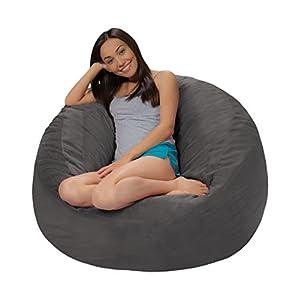 Comfy Sacks 4 ft Memory Foam Bean Bag Chair, Grey Pebble