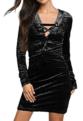 Party One Bodycon C Sleeve Color Step Clubwear Velvet Pure amp;H Skinny Lace Long Black Dresses Women up wAXq4A6