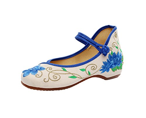 Avacostume Womens Blue Loto Ricamo Zeppe Comfort Cheongsam Abito Scarpe Blu