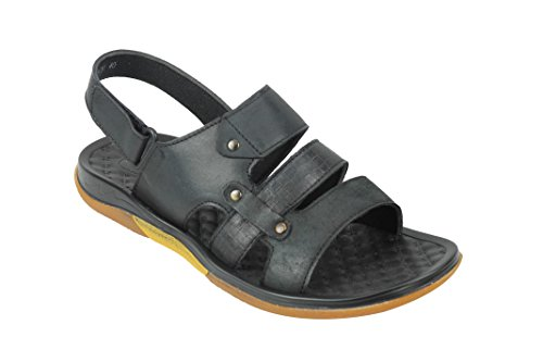 9 6 8 Adjustable Open Black Real Leather Tan Strap 7 Mens Front 10 Size Brown Toe Black Sandals Slippers 4SawZAO
