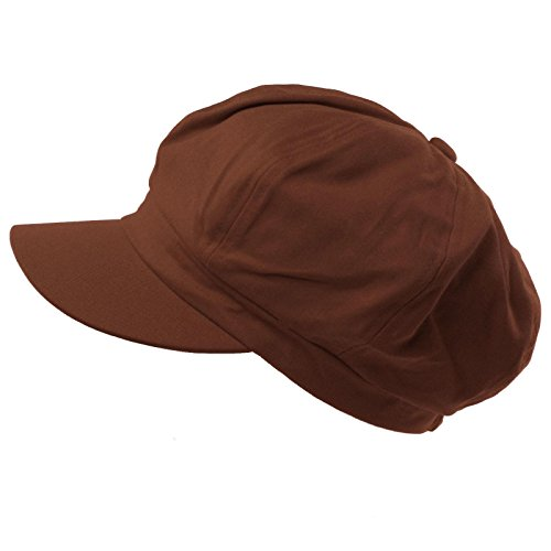 - Summer 100% Cotton Plain Blank 8 Panel Newsboy Gatsby Apple Cabbie Cap Hat Brown