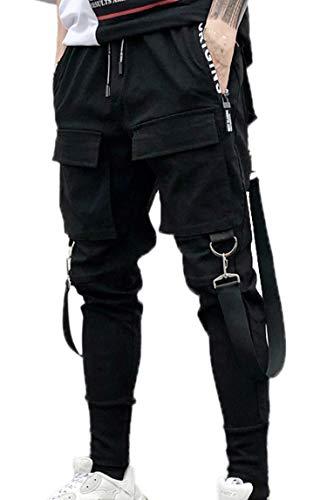 MOKEWEN Men's Multi Pocket Street Punk Hip Hop Casual Cargo Trousers Joggers Dancing Harem Pant 32-33 (Anime Jeans Men)