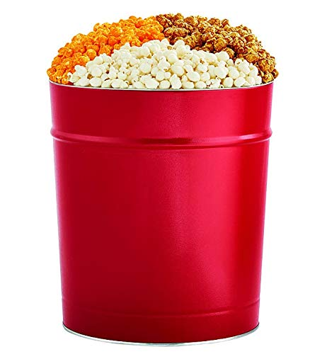 The Popcorn Factory Popcorn Gift Tin, Simply Red, 3.5 Gallons (Robust Cheddar, White Cheddar, Caramel)
