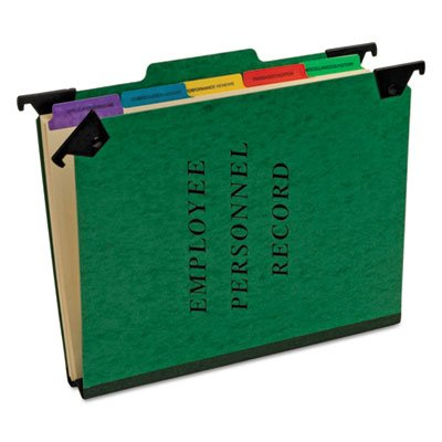 Personnel Folders, 1/3 Cut Hanging Top Tab, Letter, Green, Sold as 1 Each