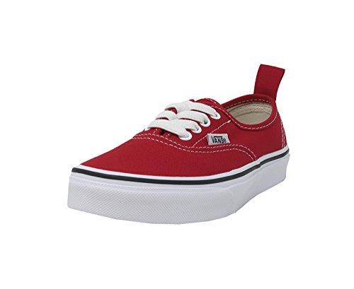 Vans Kids Authentic Elastic (Elastic Lace) Skate Shoe Racing Red/True White 11 ()