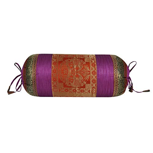- Lalhaveli Indian Round Roll Multi Silk Bolster Pillow Cushion Cover Sofa Decor 30 x 15 Inch