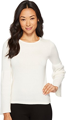 Vince Camuto Specialty Size Womens Petite Ribbed Bell Sleeve Crew Neck Sweater Antique White PS One ()