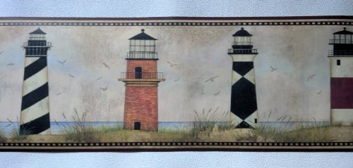 Wallpaper Border Designer Country Lighthouses on Coast with Maroon Trim by The Wallpaper and Border - Stores Lighthouse