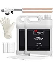 DIY Epoxy Rivertable – Crystal Clear Epoxy Resin 2:1 Ratio Deep Pour Resin Kit with Free Torch for Epoxy River Table from 0.5 inch to 4 inch Thick, Odor Free, Non-VOCs, Non-Hazmat