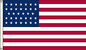 America's Flag Company 5-Foot by 8-Foot Nylon 34 Star United States Historical Flag with Canvas Header and Grommets