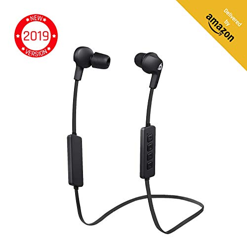 KLIM Pulse Bluetooth Wireless Earbuds - Earphones with Microphone - [New 2019 Version] Headphones - Noise Reduction - Running, Music, Phone Calls, Workout - Magnetic Ear Buds - Auriculares - Audifonos