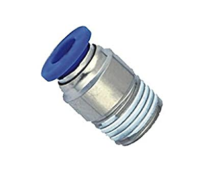 "MettleAir Push to Connect Straight Male Round Fitting, 4 mm OD, 1/8"" NPT"