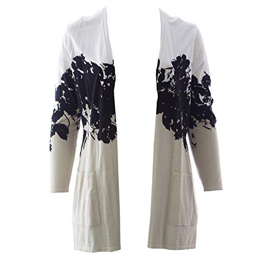 - Marina Rinaldi Women's Maxi Printed Cardigan Medium Beige/White/Black