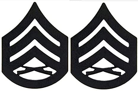 Set of Two United States Marine Corps Insignia of Rank Staff Sergeant E6
