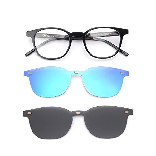 GLASSESKING Eyeglass Frames With Magnetic Clip On Sunglasses Frames For Prescription Eyeglasses Carbon Fiber Titanium Optical (Black-Bule+Grey)