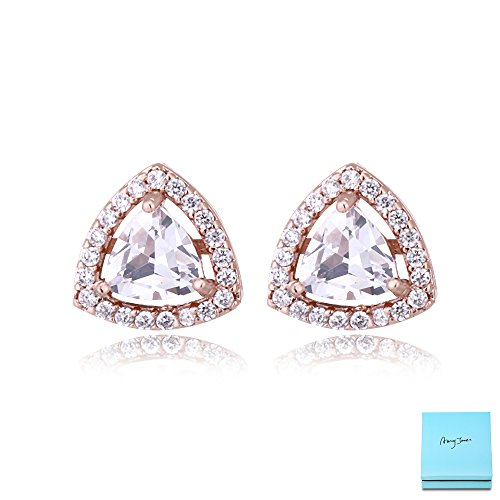cz Stud Earrings Sterling Silver - 14k Rose Gold Plated Wedding Triangle Cubic Zirconia Crystal Rhinestone Halo Stud Jewelry Gifts for Women Girls by - Jewelry Tiffany Usa
