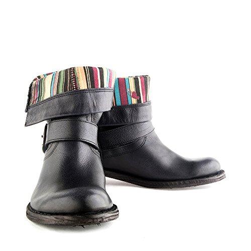 Felmini Damesschoenen - Vallen Gredo 7176 - Cowboy & Biker Boots - Echt Leer - Zwart - 0 Eu Maat Zwart
