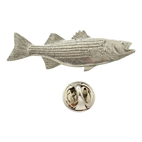 Womens Striped Nautical Pin - Sarah's Treats & Treasures Striped Bass Pin ~ Antiqued Pewter ~ Lapel Pin
