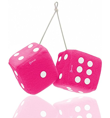 (Zento Deals Pair of 3 inch Square Pink Hanging Fuzzy Dice with White Dots)